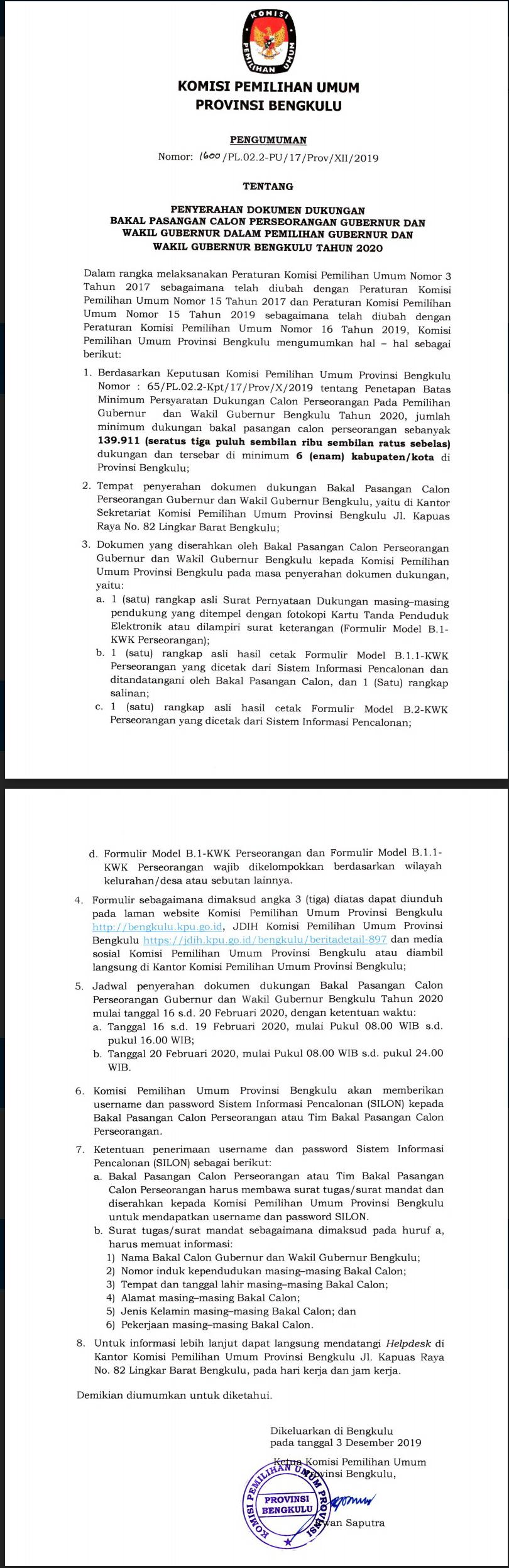 Pengumuman KPU Provinsi Bengkulu